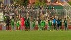 Veselje nogometašev Olimpije skupaj z navijači po zmagi v Dravogradu