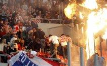 Navijači na tekmi Grčija - Hrvaška