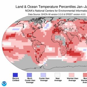 Globalne temperature od januarja do julija 2017