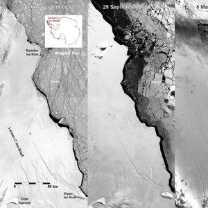 Evolucija ledene gore pri Larsen C - 1
