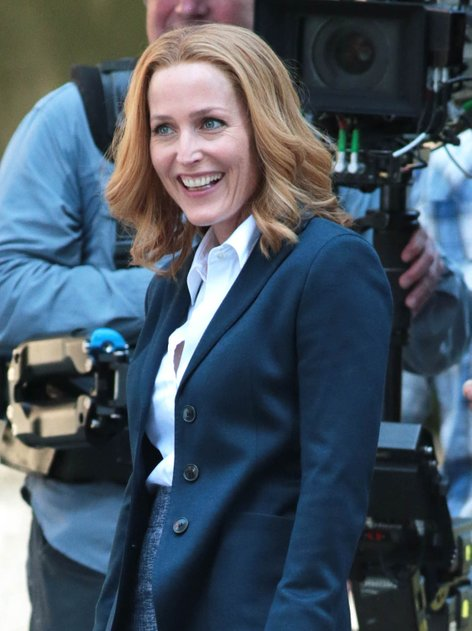Gillian Anderson na snemanju X Files