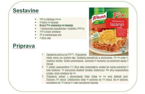 Lazanja recept