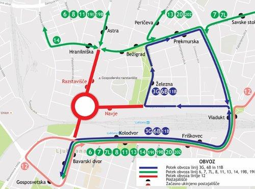 Obvozi linij LPP zaradi zapore Dunajske ceste