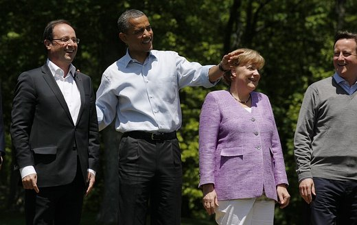 Barack Obama, David Cameron in Angela Merkel