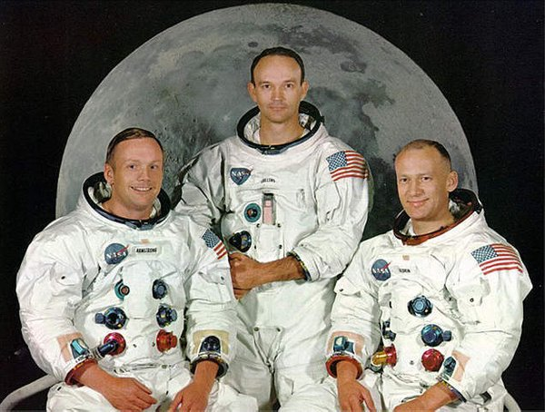 Neil Armstrong, Michael Collins in Edward Buzz Aldrin