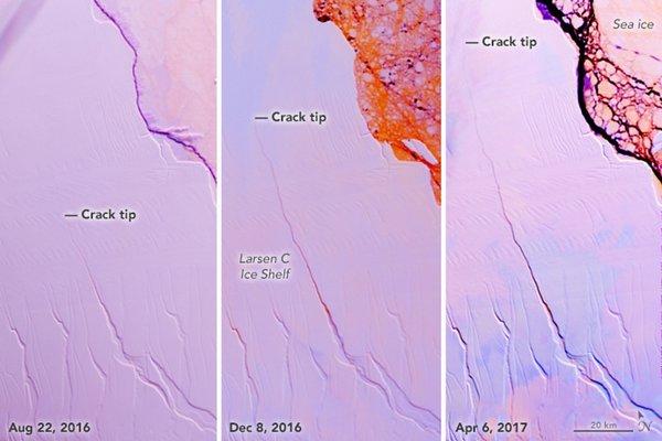 Širjenje razpoke na Antarktiki