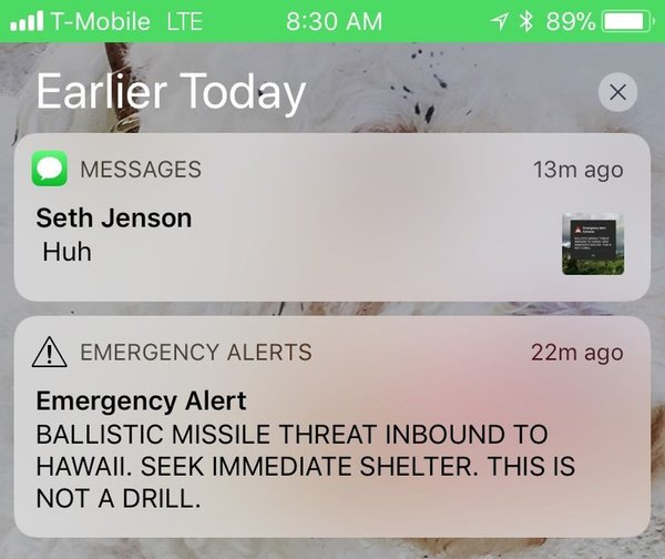 sporočilo o raketi na Havajih