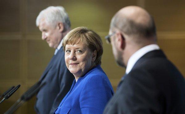 Angela Merkel, Horst Seehofer in Martin Schulz