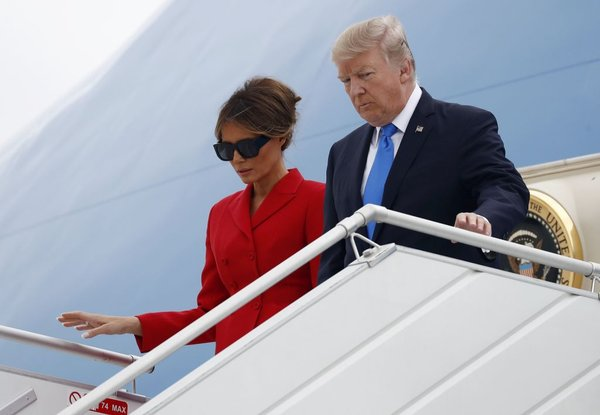 Donald Trump in Melania prispela v Pariz