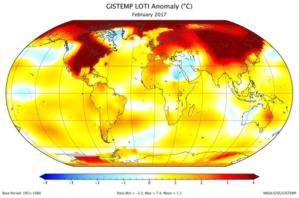 Globalne temperature februarja 2017