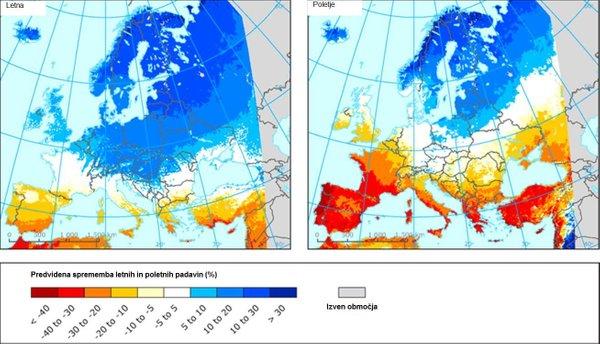 Predvidena sprememba padavin