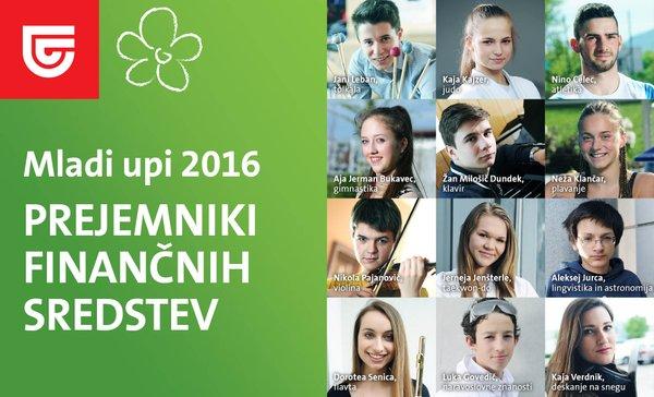 kolaž, prejemniki finančnih sredstev Mladi upi 2016