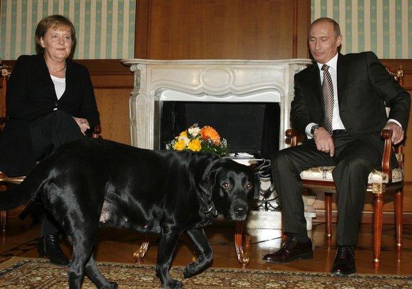 Vladimir Putin in Angela Merkel