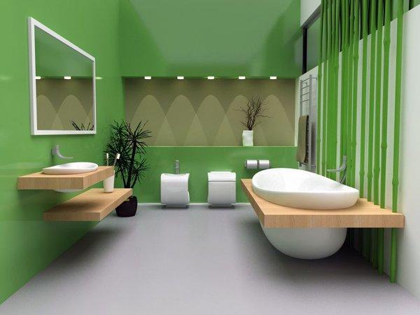 Moderna kopalnica v zeleni barvi