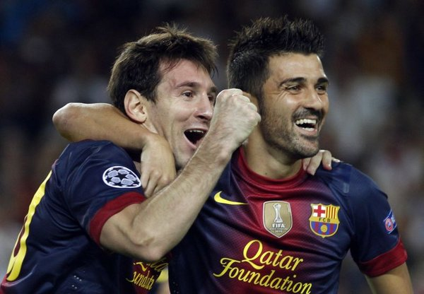 Lionel Messi in David Villa