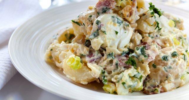 Topla krompirjeva solata z jajci in šunko