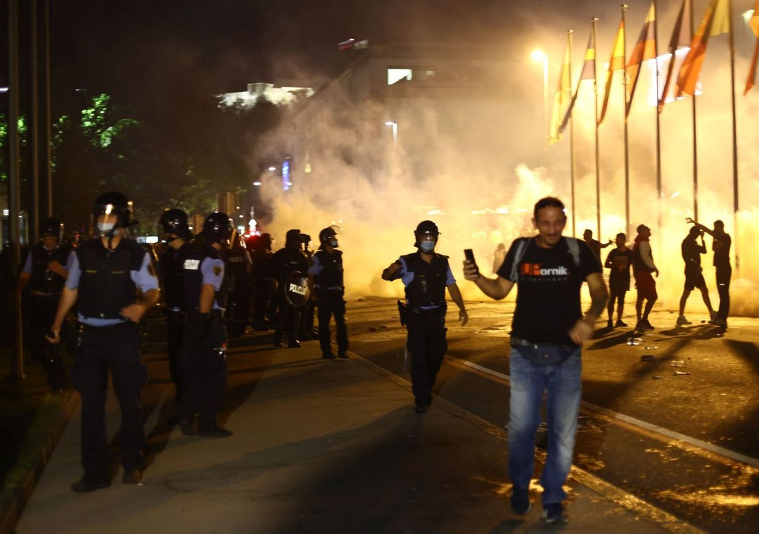 Izgredi na protestih nasprotnikov PCT