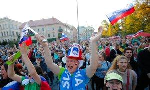 Sprejem odbojkarjev: v Ljubljani znova zadonela Zdravljica