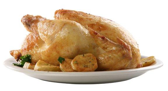 Piščanec je pečen, ko temperatura mesa doseže 74 stopinj Celzija, ali ko je sok, ki izteče iz piščanca, brezbarven.