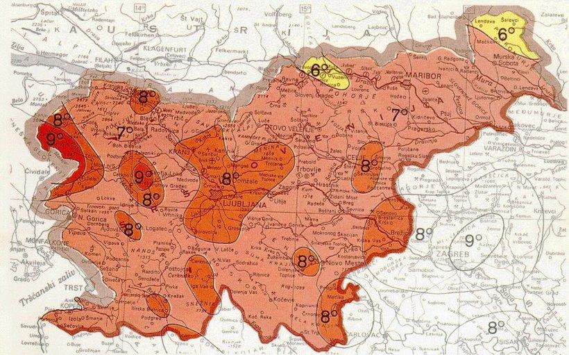 Karta potresne nevarnosti v Sloveniji.