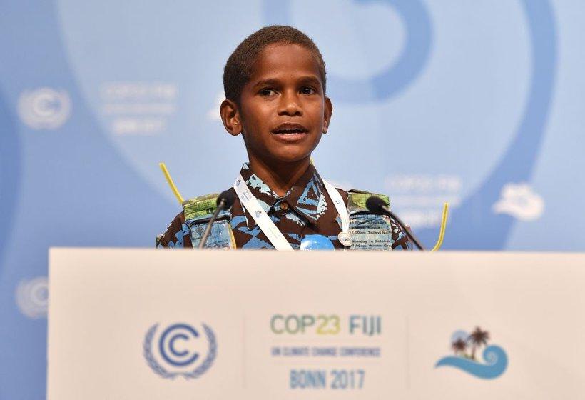 Timoci Naulusala je pri 12 letih globalno vas pozval, naj odpre oči glede podnebnih sprememb.
