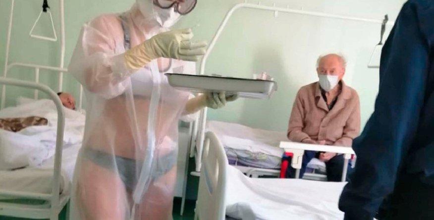 Medicinska sestra bolnike oskrbovala v spodnjem perilu