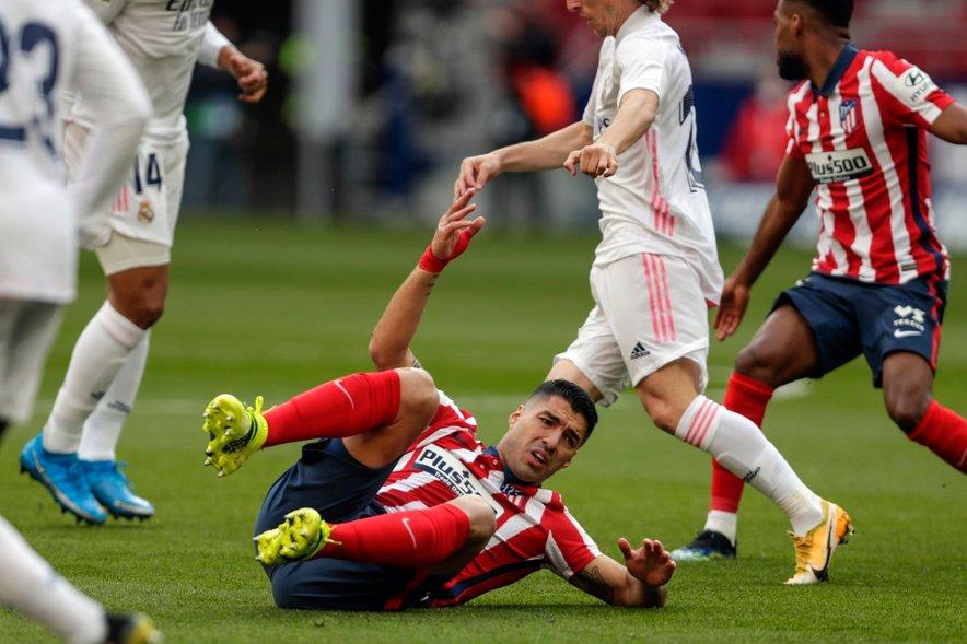Suarez (na fotografiji) med zadnjim mestnim derbijem z Realom na domačem stadionu Wanda Metropolitano (1:1).