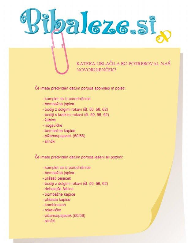 Seznam oblačil za novorojenčka