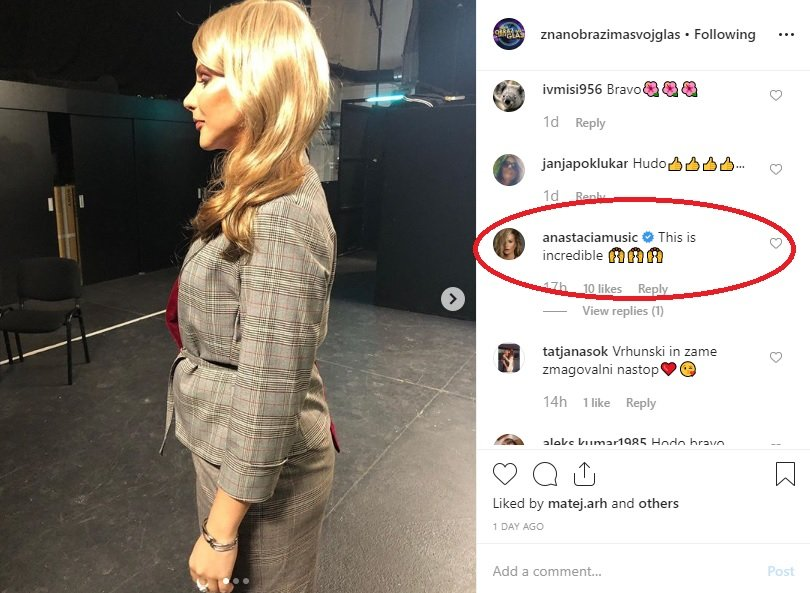 Anastacia je na uradnem profilu šova Znan obraz ima svoj glas komentirala fotografijo, na kateri je Petra kot Eros in kot Anastacia hkrati.