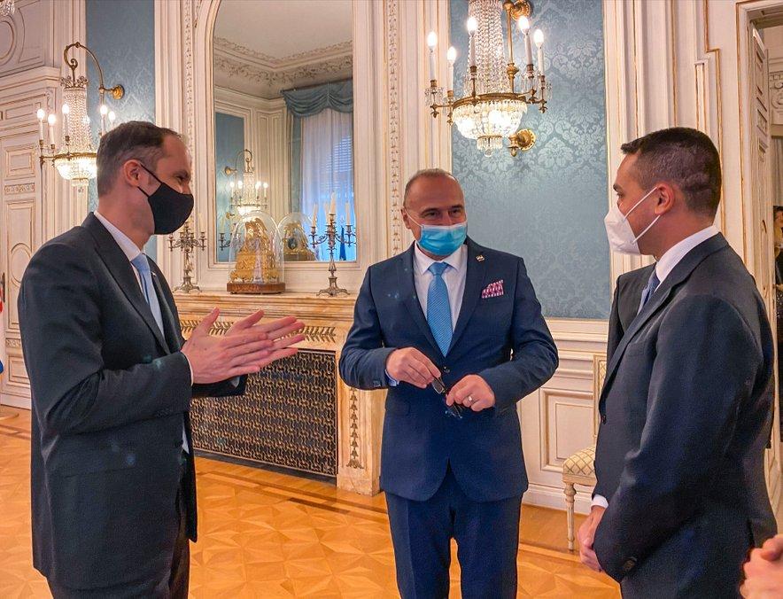 Anže Logar, Gordan Grlić Radman in Luigi di Maio.