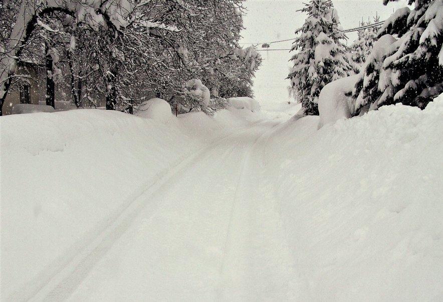 Zelo debela snežna odeja na Ribniškem ob koncu februarja leta 2013