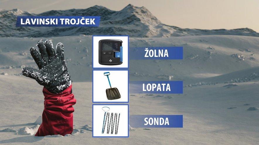 Lavinski trojček je pri obisku gora v zimskem času skoraj obvezna oprema.