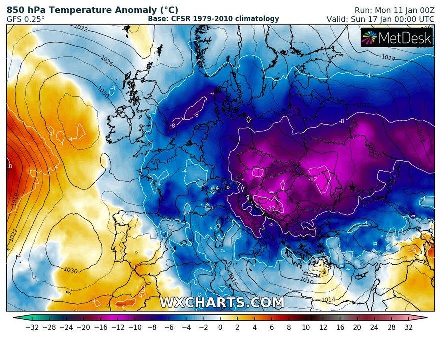 Ob koncu tedna bodo temperature nižje od dolgoletnega povprečja tudi za več kot 10 stopinj Celzija, kar se v zadnjih zimah dogaja zelo redko.