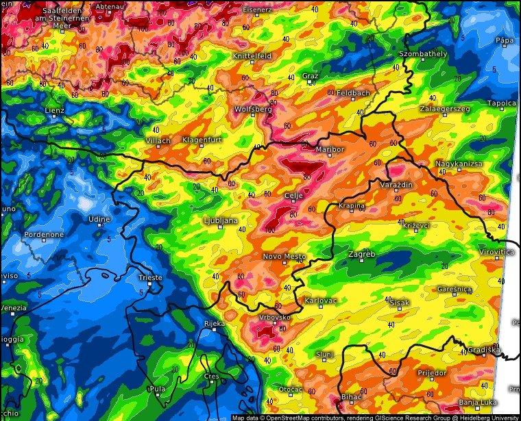 Največ dežja bo ob koncu tedna padlo v hribovitem svetu vzhodne Slovenije.