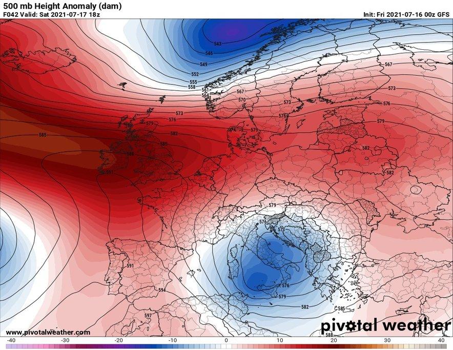 Ob koncu tedna bodo naši kraji na obrobju višinskega jedra hladnega zraka, kar bo ob okrepljenem severovzhodnem vetru predvsem vzhodnemu delu Slovenije prineslo večjo količino dežja.