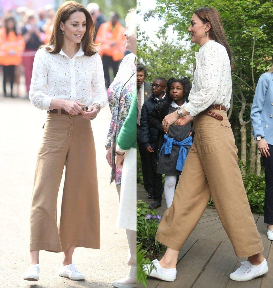 Kate izbrala zelo priljubljen kroj hlač v rjavi barvi.