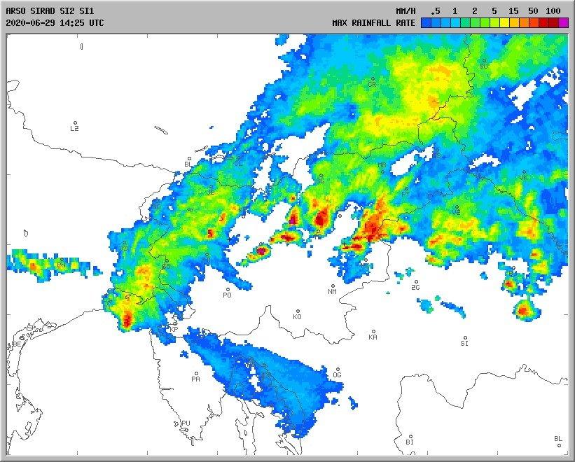 Radarska slika padavin.