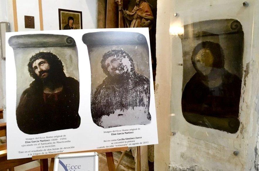 'Popravljena' freska Opičji Kristus. Original je naslikal Elias Garcia Martinez v cerkvici v kraju Borja.