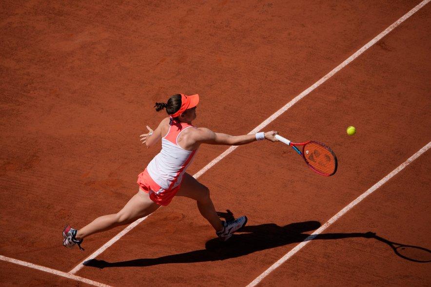 Tamara Zidanšek na polfinalnem obračunu.