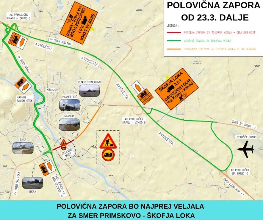 Najprej bo veljala za smer Primskovo–Škofja Loka. Po drugi polovici bo promet potekal dvosmerno v obeh smereh vožnje.