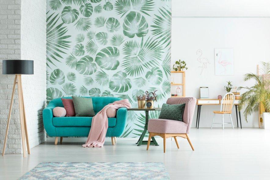 Absolutni hit je trenutno tropsko rastlinje, ki zaradi same intenzitete motiva krasno funkcionira na eni sami steni ali njenem delu.