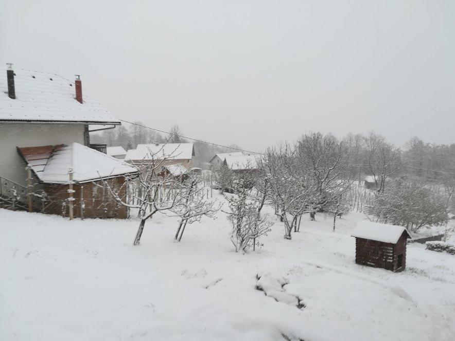 V Črnomlju je zjutraj bilo šest centimetrov snega.