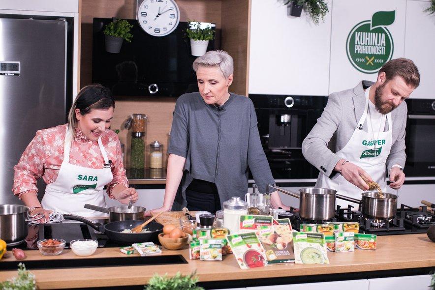 Sara Rutar in Gašper Kramar sta poskrbela za smeh, zabavo in pripravo okusnih brezmesnih jedi.