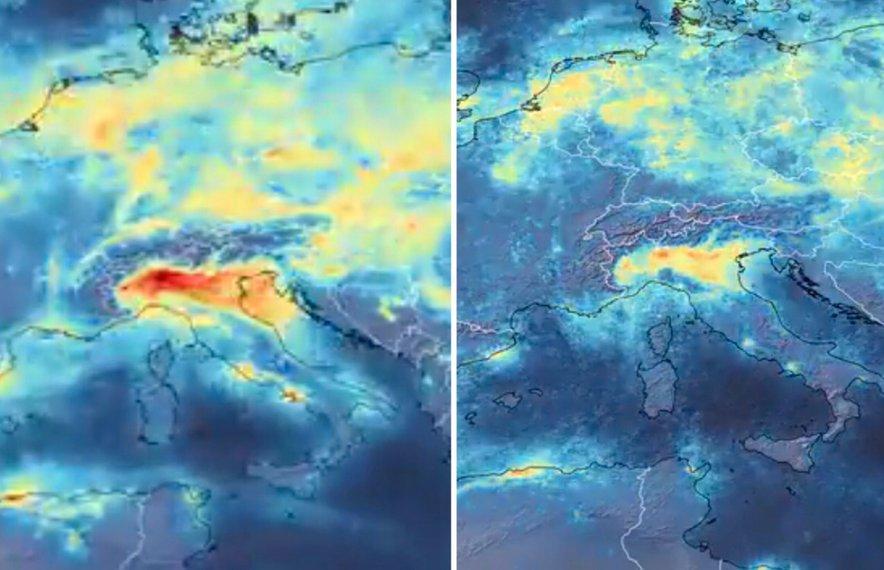 Zmanjšanje onesnaženja nad Italijo. Vir: ESA
