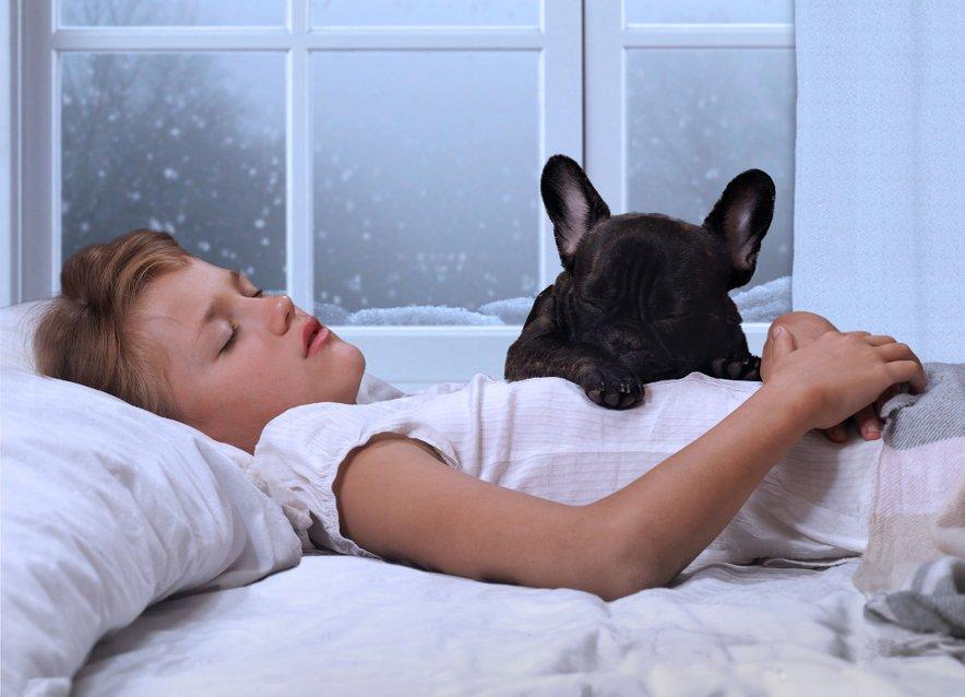 Otrok spi s psom