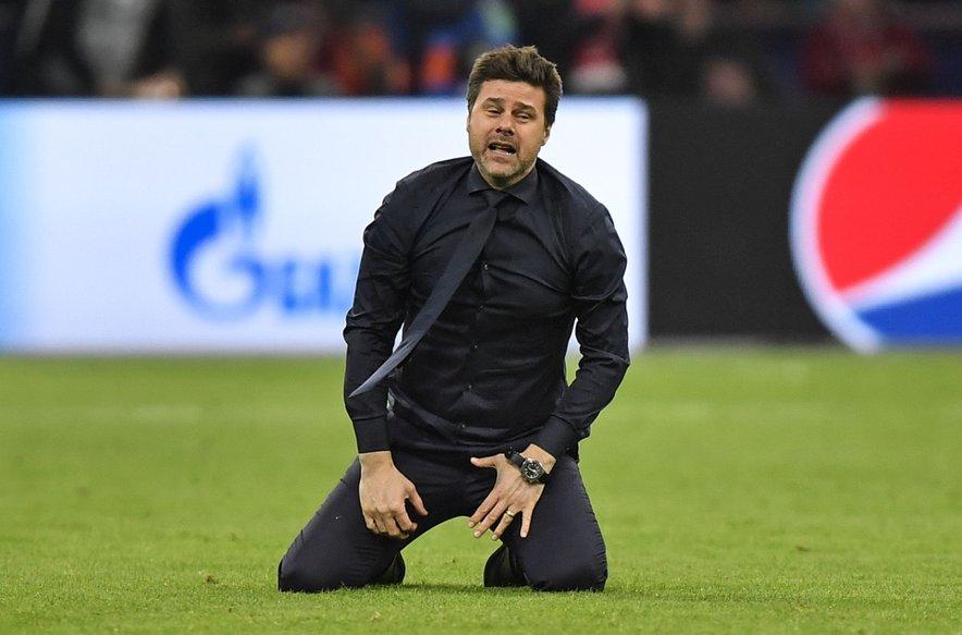 Mauricio Pochettino 'na kolenih' po zgodovinski uvrstitvi Tottenhama v lanski finale elitne Lige prvakov.