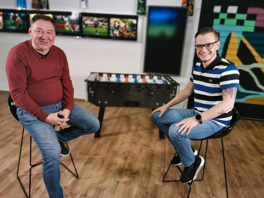 Tomaž Lukač in Tadej Vidrih v zadnji spletni oddaji Fuzbal!
