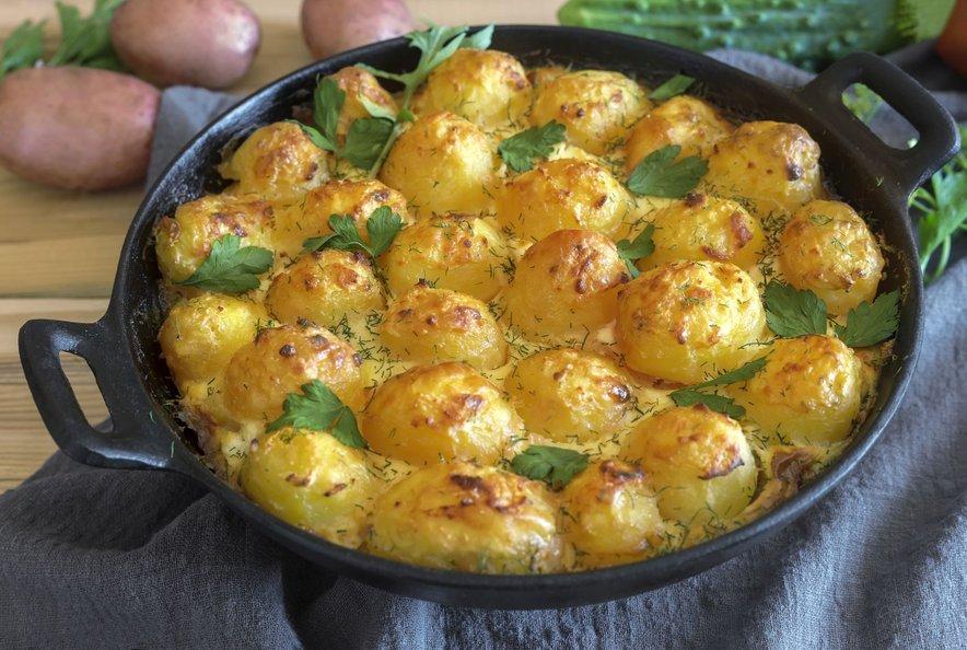 Zapečen mladi krompir s skuto in kislo smetano