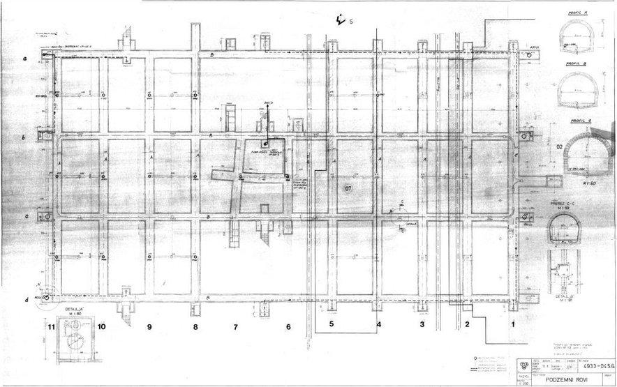 Načrt podzemnih rovov pod Tovarno letalskih motorjev Maribor iz leta 1975. Rove so zgradili v treh profilih.
