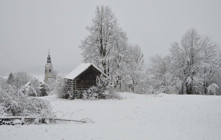 Največ snega je zapadlo na širšem Kočevsko-ribniškem območju.